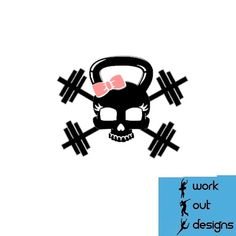 Skull Bow and Barbell Vinyl decal by WorkOutDesigns on Etsy, $5.00