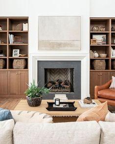 Bookshelves Around Fireplace, Built In Around Fireplace, Fireplace Built Ins, White Fireplace, Fireplace Remodel, Living Room With Fireplace, Fireplace Design, Basement Fireplace, Tv Above Fireplace