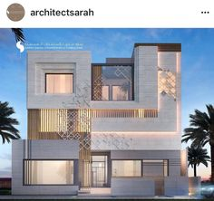 private villa, kuwait 400 m by sarah sadeq architects 3 Storey House Design, House Front Design, Islamic Architecture, Architecture Plan, Facade Design, Exterior Design, Modern House Facades, Modern Villa Design, House Elevation