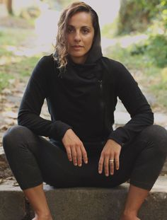 Cowl Neck Hoodie, on stone alley worn with leggings