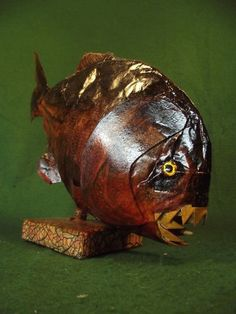 Faux Piranha Fish Figure Taxidermy Decorative Curio Odd Museum Exhibit #Kuriology