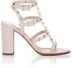 Valentino Women's Rockstud Triple-Strap Sandals-LIGHT PINK