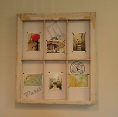 Made this out of an old window frame. Added white foam board (found anywhere they sell project supplies) and thumbtacked pictures with colorful tacks. Used Scotch removable mounting squares to stick foam to window. I added some paris stickers i had laying around.