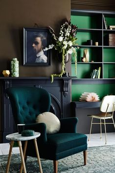Love the mix of greens in this romantic dark room.