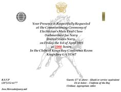 U S Navy Cwo 2 Commissioning Party Invitation Ceremony