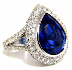 █$35,000 GIA 20.43 NATURAL PEAR SHAPE TANZANITE DIAMONDS RING 18KT SPLIT SHANK  #AvisDiamond #Cocktail