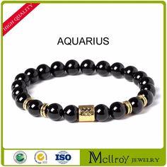 Mcllroy 2017 new design 12 style beaded bracelet for men black agate stone bracelet gift jewelry