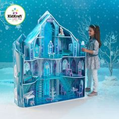 "KidKraft Disney Frozen Snowflake Mansion Dollhouse Do you want to build a snowman? Our Disney Frozen Snowflake Mansion is perfect for kid's who want to ""Let it Kids Doll House, Barbie Doll House, Barbie Dolls, Barbie Castle, Frozen Dollhouse, Girls Dollhouse, Dollhouse Toys, Frozen Castle, Frozen Room"