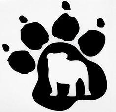 Bulldog Dog Pet Paw Print Car Truck Window Vinyl Decal Sticker 12 COLORS #VinylDecalSticker