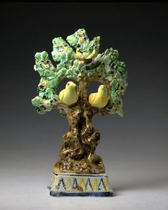 Early English Prattware  pottery figure of birds in tree branches with leaves and nest c1790/1800 period