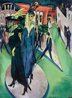 "Ludwig Kirchner's ""Potsdamer Platz"" (1914) - ""His restless, jagged brushstrokes and the harsh colors emphasize the hectic, nervous rhythm of the metropolis, creating an alienating effec..."