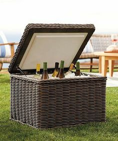 Unlike typical plastic beverage coolers that often detract from your outdoor decor, our exclusive Ocean Gray Ice Chest's sturdy aluminum frame is surrounded by a layer of weather- and UV-resistant resin that blends beautifully with your fine furnishings.