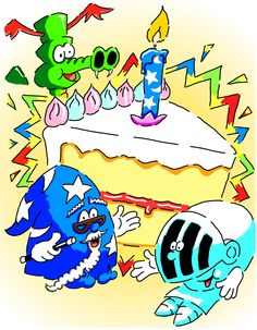 FREEBIE giveaway as Hatpeople celebrate their first birthday! Get 'The Little Helmet' and the 'Hat Magic!' e-books free for a week at Smashwords and related sites for a week. So there's plenty of reading and colouring for children with these picturebooks - so celebtrate and enjoy the birthday celebrations. Dragon, Knight, Wizard, Cake, Slice, Candle, Magic, Birthday Card.