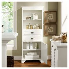 Maximize Your Bathroom Storage With Our Wooden Cabinet Featuring Two Shelves Ious Drawers And A Large Bottom Louvered Door For