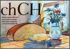 Learning About the Czech Alphabet Alphabet Words, School Posters, Make A Donation, Jaba, English Alphabet, Textbook, Vintage World Maps, Retro, Illustration