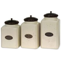 IMAX Corporation Ivory Canisters (Set of 3) ($102) ❤ liked on Polyvore featuring home, kitchen & dining, food storage containers, flour canister set, cream jar, flour canister, flour cannister and cream canisters