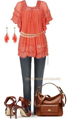 "Farb-und Stilberatung mit www.farben-reich.com - ""Ruffled Coral Top & Coach Bag"" by casuality on Polyvore"