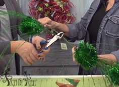 Candy Cane Wreath Tutorial - Trendy Tree Blog - cut large sprays into smaller, more manageable pieces.