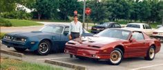 In 1988 our founder and CEO Jeff bought his first new car, which was a new flame red metallic with head-turning custom Ferrari Back, ordered from the GM factory. Here he is with the old car next to it, a 1978 Trans AM. 1978 Trans Am, Trans Am Gta, Gta Cars, New Flame, Firebird, Throwback Thursday, Turning, Ferrari, The Past