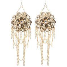 bebe Flower & Fringe Earrings ($26) ❤ liked on Polyvore featuring jewelry, earrings, fringe jewelry, bebe earrings, bebe, flower jewellery and blossom jewelry