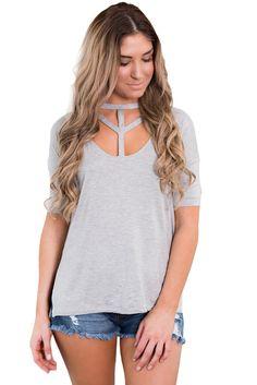 1825ec7624 Grey Cutout Choker Detail Short Sleeve T-shirts Cutting Big Shirts, Diy Cut  Shirts