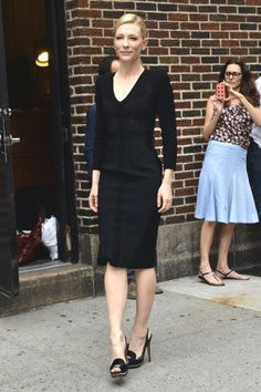 Cate Blanchett arrived for an appearance on The Late Show with David Letterman wearing an Altuzarra dress and Nicholas Kirkwood heels.