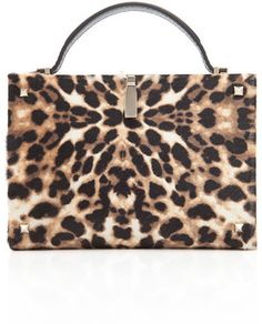 Valentino Leopard Hair Calf Minaudiere Valentino