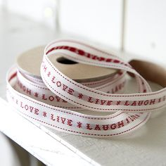 Fabric Embroided 'Live Laugh Love' Ribbon £5.95