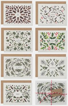 holiday cards - great patterns made from nature - The House That Lars Built. http://www.etsy.com/listing/165802807/set-of-14-christmas-cards?ref=shop_home_active