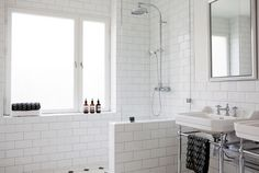 perfect white bathroom with half wall partition and glass