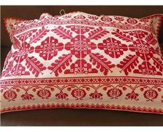 Vintage Transylvanian Embroidered Cushion Cover (Large) Hungarian Embroidery, Embroidered Cushions, Home Comforts, Folk Art, Bed Pillows, Red And White, Cross Stitch, Tapestry, Color Red