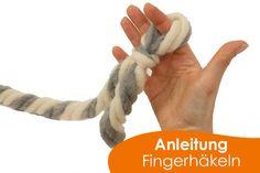 """Heute wird es XXL! Ihr habt ja bestimmt im neuen Katalog unsere neue XXL-Wolle """"Wollbutt Chunky"""" entdeckt. Wir zeigen Euch heute, wie man damit ganz toll Fingerhäkeln kann. In den nächsten Tagen und Wochen werden noch mehr Anleitungen und chunky Ideen folgen: http://blog.buttinette.com/handarbeiten/haekel-tipp-fingerhaekeln"""