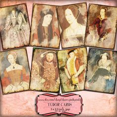 TUDOR KINGS and QUEENS digital collage sheet background sheet, 8 designs, scrapbook supplies collage digital download