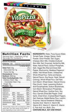 190 Calorie VitaPizza Nutrition Facts - Meatless Pepperoni Supreme