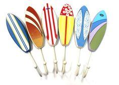 Surfboard Hooks (Set of 6) - Towels, Jackets, Keys...  (http://www.caseashells.com/surfboard-hooks-set-of-6/)