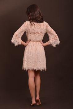 beige lace dress back