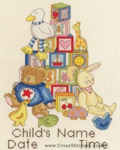 Building Blocks Cross Stitch Birth Sampler Kit from Bothy Threads