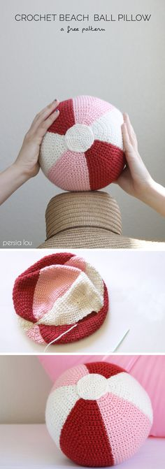Beach Ball Crochet Pillow - Free Pattern