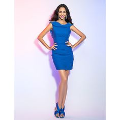 a3d8feb545a6   89.99  Sheath   Column Plunging Neckline Short   Mini Chiffon Cocktail  Party Holiday Dress with Crystal Detailing Ruched by TS Couture®