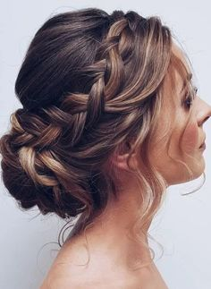Bridal Hair Updo, Wedding Hair And Makeup, Updos For Wedding, Wedding Updo With Braid, Prom Hair Updo, Curled Hair Updo, Braids For Wedding Hair, Hair Up Braid, Straight Hair Updo