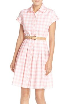 Eliza J Check Cotton Poplin Shirtdress