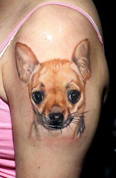 Chihuahua shoulder tattoo