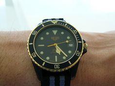 Heuer 1000 Black Coral on a Nato strap