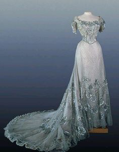 "Oh My Lord That is Gorgeous...."" ""Alexandra's White & Silver Evening Dress ~ 1900's"""
