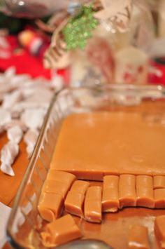 Soft Caramels  1 can sweet condensed milk    2 C sugar    1 cup butter    1/2 tsp salt    1 1/2 cup white Karo Syrup