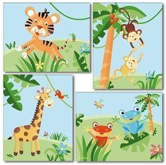 Kids Wall Art Nursery Decor Set of 4 Nursery Art Prints Rainforest Jungle Animals on Etsy, $24.90
