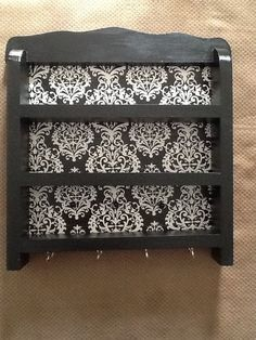Black and white damask nail polish/ jewelry holder
