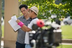 """Actor John Cho on the Columbus, Indiana courthouse lawn, during shooting for the upcoming film """"Columbus"""" Columbus Movie, Columbus Indiana, Agnes Varda, John Cho, Cinema, Actor John, Upcoming Films, Independent Films, The Republic"""