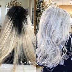 Color correction: platinum touch-up Ice Blonde Hair, Dark Roots Blonde Hair, Silver Blonde Hair, Icy Blonde, Dark Hair, Color Correction Hair, Platinum Hair Color, Redken Hair Products, Hairstyles Haircuts