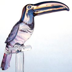 Toucan figurine sculpture of blown glass gold crystal.